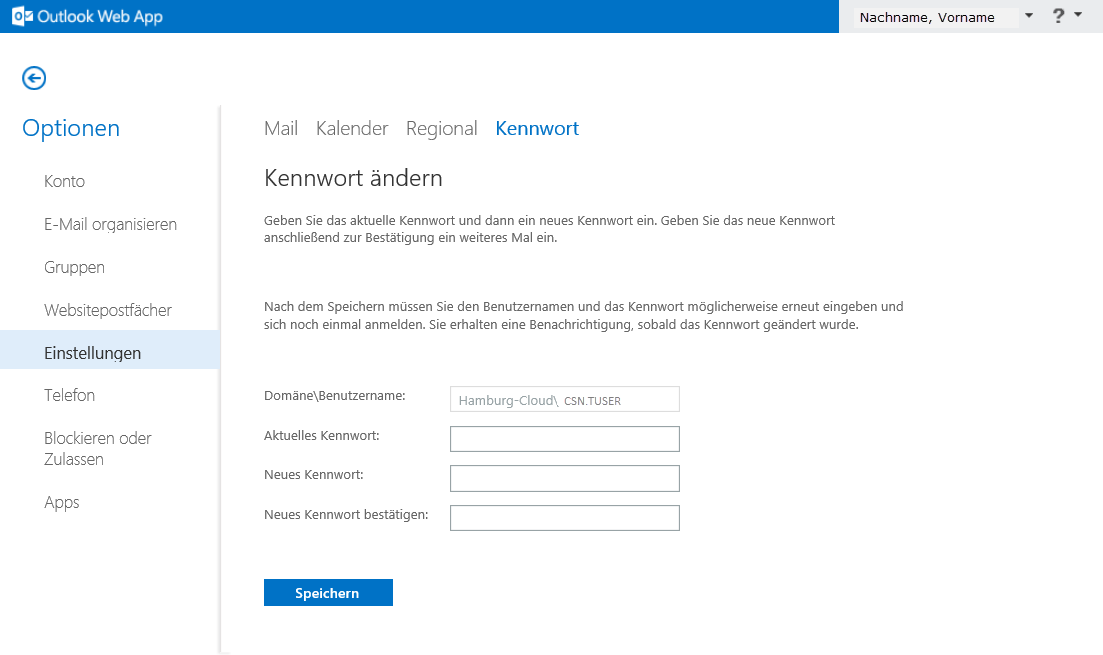 Passwort in Outlook Web Access ändern 02
